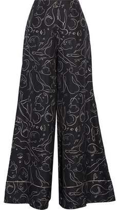 Roksanda Oldridge Printed Silk-Twill Wide-Leg Pants