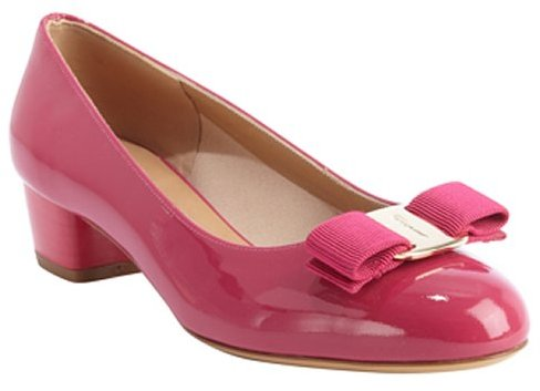 Salvatore Ferragamo hot pink patent leather 'Vara' grosgrain engraved logo bow tie accent pumps