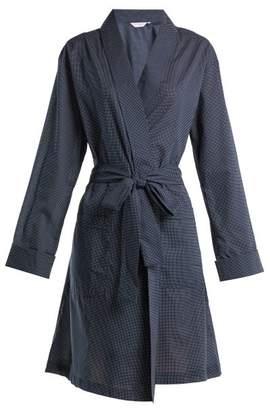 Derek Rose Plaza 21 Polka Dot Cotton Kimono - Womens - Navy