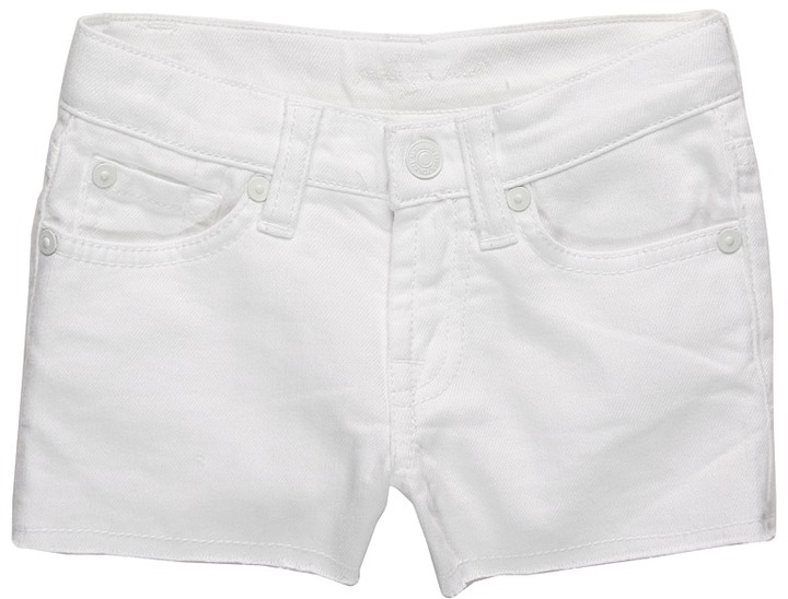 7 For All Mankind Kids - Girls' Denim Short in Clean White (Little Kids) (Clean White) - Apparel