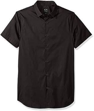 Armani Exchange A|X Men's Short Sleeve Stretch Poplin Woven Slim Fit