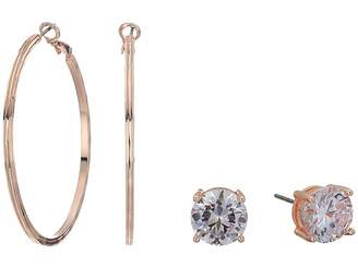GUESS 8 mm Hoop with Round CZ Stud Duo Earrings Set