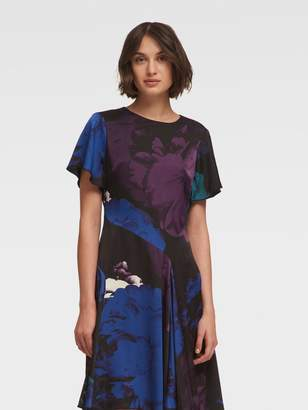 DKNY Floral Fit-And-Flare Dress With Flared Sleeve