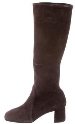 Prada Round-Toe Knee-High Boots Brown Round-Toe Knee-High Boots