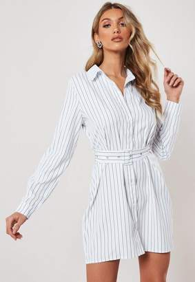 Missguided White Striped Belted Shirt Dress, White