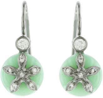 Cathy Waterman Chrysoprase Diamond Flower Bead Earrings - Platinum