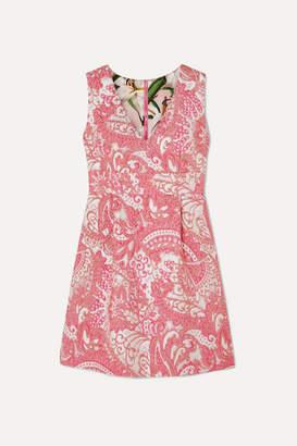 Dolce & Gabbana Metallic Brocade Mini Dress - Pink