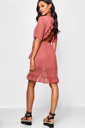 boohoo Dobby Chiffon Backless Ruffle Tea Dress