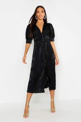 boohoo Button Front Midi Dress