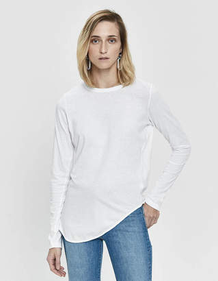 Bassike Heritage Scoop Hem Long Sleeve T-Shirt in White