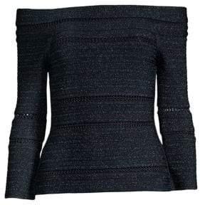 Herve Leger Off-The-Shoulder Lurex& Knit Top