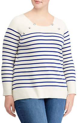 Lauren Ralph Lauren Plus Striped Crew Neck Raglan Sweater