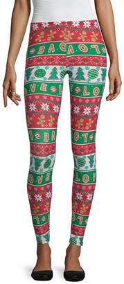 City Streets Ugly Christmas Sweater Holiday Knit Leggings-Juniors