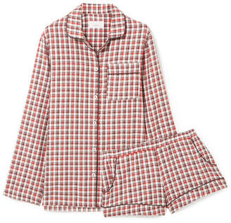 Three J NYC Josephine Checked Cotton-flannel Pajama Set - Red