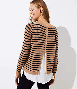LOFT Striped Split Back Mixed Media Sweater