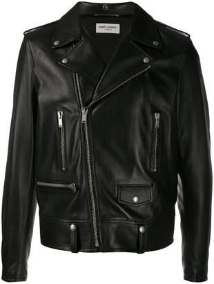 Saint Laurent off-centre zipped leather jacket