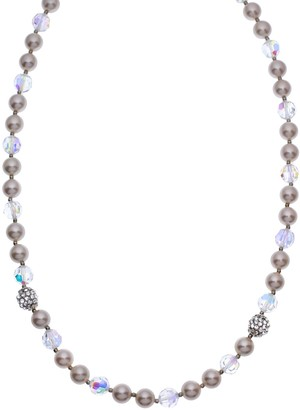 Swarovski Crystal Avenue Silver-Plated Crystal & Simulated Pearl Necklace - Made with Crystals