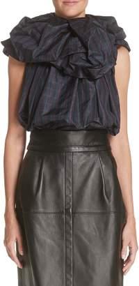 Marc Jacobs Rosette Collar Checked Silk Blouse