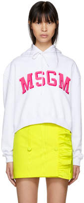 MSGM White Cropped College Logo Hoodie