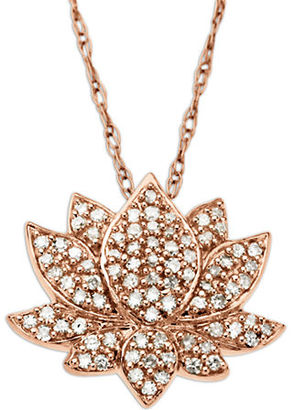 Lord & Taylor 14 Kt. Rose Gold Diamond Lotus Flower Pendant $1,000 thestylecure.com