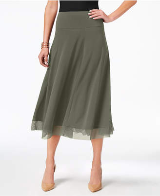 JM Collection Petite Mesh-Hem A-Line Skirt