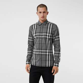 Burberry Check Stretch Cotton Shirt , Size: XXL, Grey