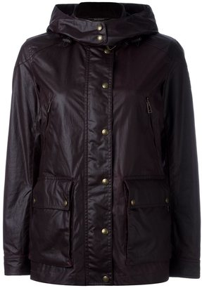 Belstaff leather-effect hooded jacket $616.14 thestylecure.com