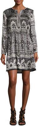 Calypso St. Barth Talori Long-Sleeve Print Silk Dress, Snow CC