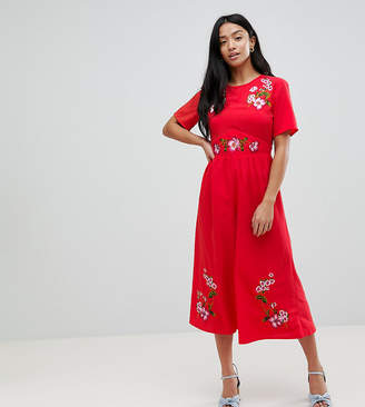 Asos Embroidered Tea Jumpsuit