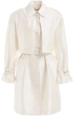 a4818da3cd7 Wolf & Badger Clotilde White Silk Short Trench Coat