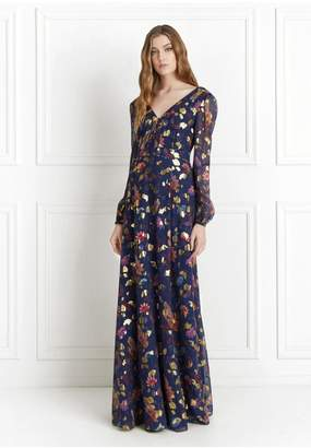 Rachel Zoe Annabel Metallic Floral Fil Coupe Maxi Dress