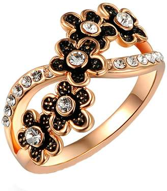 Aokarry Wedding Ring, Plated Black White Cubic Zirconia Promise Ring Wedding Ring for Her
