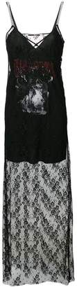 McQ graphic print lace slip dress