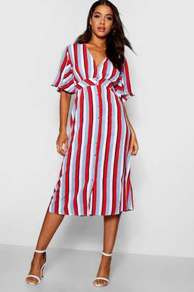 boohoo Striped Flared Sleeve Midi Dress