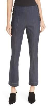 Cinq à Sept Chantal Side Button Crop Flare Pants