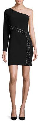 Parker Davita Lace-Up Mini Dress, Black $378 thestylecure.com