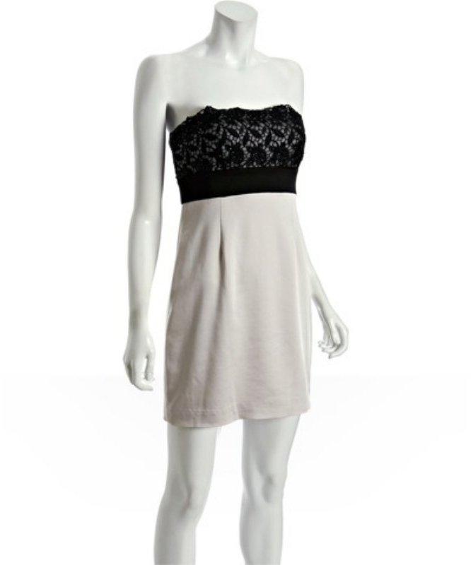 BCBGMAXAZRIA black lace top strapless dress