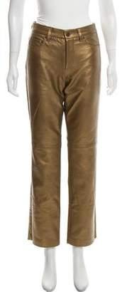 Ralph Lauren Straight-Leg Leather Pants