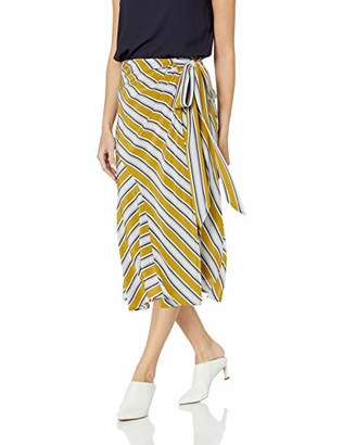 ASTR the Label Women's Teagan Stripe WRAP MID Length Skirt, Moss Multi, l