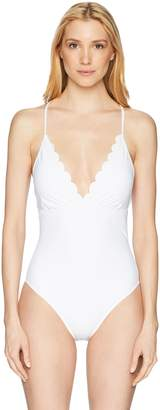 LaBlanca La Blanca Women's V-Neck Strappy Back One Piece Swimsuit, Black/Petal Pusher Print