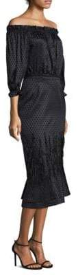 Saloni Silk Off-The-Shoulder Sheath Dress