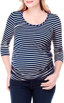 Ingrid & Isabel Stripe 3/4 Sleeve Shirred Top