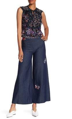 Anna Sui Butterfly & Bird Patch Flare Denim Pants