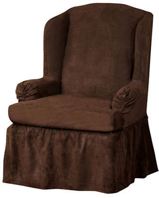 Sure Fit Luxury Suede One-Piece Relaxed Fit Wing Chair Slipcover