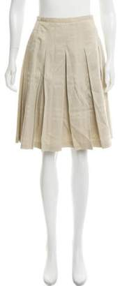 Burberry A-Line Pleated Skirt Gold A-Line Pleated Skirt