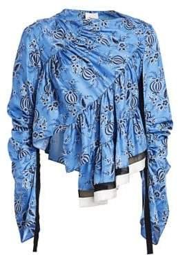 3.1 Phillip Lim Asymmetric Silk Floral Ruffle Blouse
