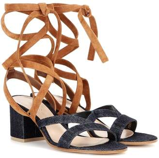 Gianvito Rossi Janis Low denim and suede sandals