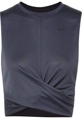 Nike Cropped Twisted Ribbed Dri-fit Tank - Dark gray