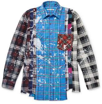 Needles Paint-Splattered Checked Cotton-Flannel Shirt - Men - Blue