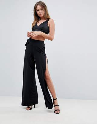 Asos Design Slinky Wide Leg Pants with Bow Detail